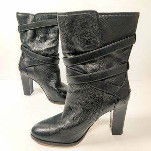 Coach blk leather stack heel calf length boots 9